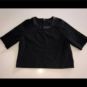 Bana republic black leather blouse shirt top m